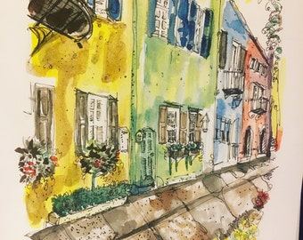 "Rainbow Row, Charleston, SC watercolor print 5.5"" x 8.5"""