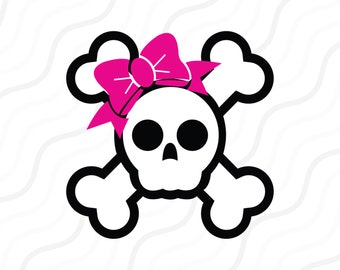Skull With Bow SVG, Pirate Skull SVG, Bow SVG Cut table Design,svg,dxf,png Use With Silhouette Studio & Cricut_Instant Download
