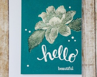Hello Beautiful card, Love you card, handmade greeting card, love cards, just because cards, thinking of you cards, love always