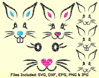 Easter Bunny Rabbit Face Svg files for Cricut Silhouette svg designs, DXF CUT FILES, Instant Download Shirt sign prints clip art Vector File