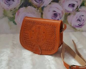 Moroccan Handmade cross-body messenger orange/caramel leather bag