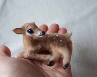 Ooak Dollhouse Miniatures Baby Fawn Deer by Malga