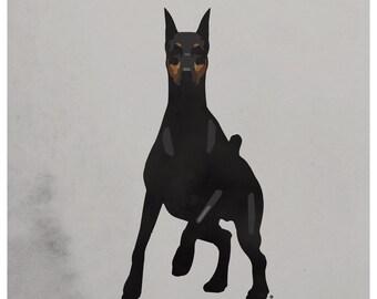 Doberman Print, Doberman Poster, Doberman Art, Doberman Pinscher Art Print, Doberman Pinscher Wall Art, Doberman Art Print, Dog Print