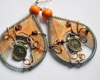 Alarm clock earrings, alice's earrings, tribal orange earrings, retro clock, unique clock jewelry, rustic orange earrings, orange & white