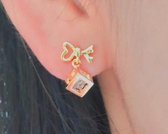 Bow earrings, geometric earrings, cubic earrings, cube earrings, post back earrings, cute earrings , gold earrings ,stud earrings