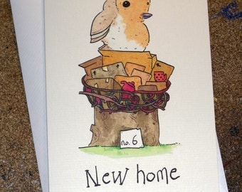 Cute woodland robin in nest,  hand made New Home card - Have a Scruffies Welcome!