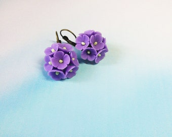 Polymer clay jewelry earrings Purple flower earrings Dangle earrings Flower earrings Purple earrings Nature earrings Romantic earrings gift