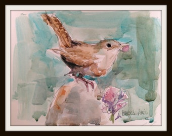 6 x 8  Watercolor Wren Print, Watercolor Wren No. 5, Bird Art Decor, Bird Lover Decor, Brande Arno Painting, Perched Bird Painting. Bird Art
