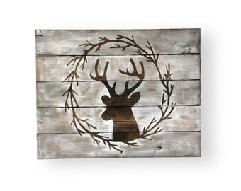 Wood Deer Head- Woodland Decor- Mountain Home Decor- Woodland Deer- Cabin Signs- Cabin Wall Decor- Rustic Wood Wall Decor- Rustic Wood Signs