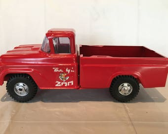 Vintage Buddy L Traveling Zoo Pick Up Truck, Pressed Steel Toy Vehicle - VERY NICE SHAPE