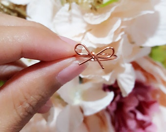 Rose Gold Bow Ring Midi Ring, Toe Ring, Simple Wire Wrapped Bow Ring, Bow Tie Ring, Handmade Gift for Her, Christmas Gift, Bridesmaids Gift