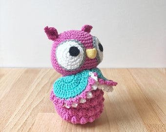 OWL crochet amigurumi in pink, crochet toy, baby shower gift, gift for kids, gift for baby, owl gift, owl lover gift