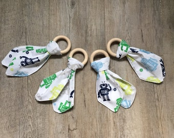 Natural Wood Teether, Bunny Ears, Baby Teething Ring, Baby Gift, Wooden Toy, Fabric and Wood Teether, Robot Pattern Teether