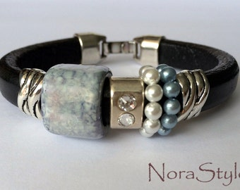 Black licorice leather bracelet with sky blue ceramics