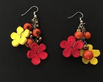 Orange Peel Earrings / Flower Dangle Earrings / Acai Jewelry / Floral Earrings