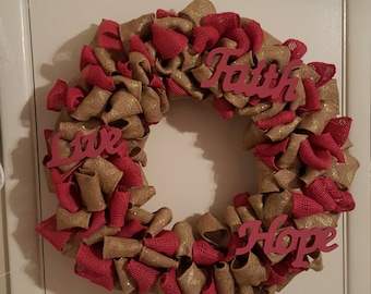 Breast Cancer Survivor Burlap Door Wreath