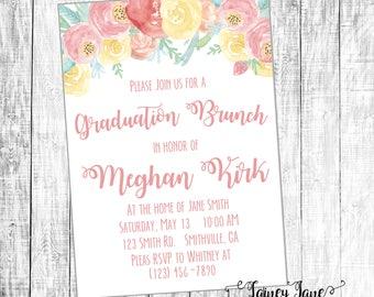 Graduation Brunch Invitation, Graduation Party Invitation, Customized Party Invitation, Customized Invitation, Floral Grad Party Invitation