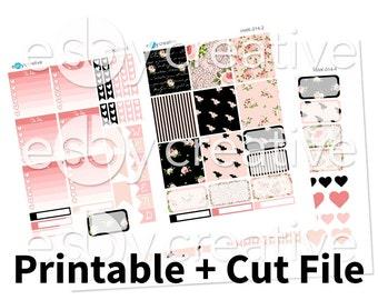 Midnight Rose Floral - Weekly Sticker Kit Printable for Erin Condren Horizontal - HWK-014 - INSTANT DOWNLOAD