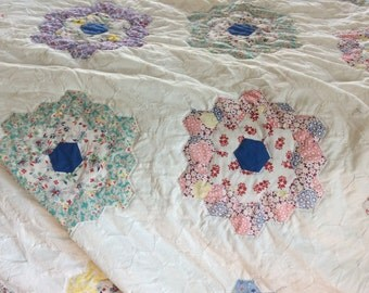 Newly Hand quilted vintage grandmothers garden quilt top