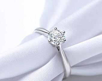 On Sale! Classic 6-prong Moissanite Engagement Ring in 14k White Gold, Diamond Alternative engagement ring, Eco Friendly diamond ring