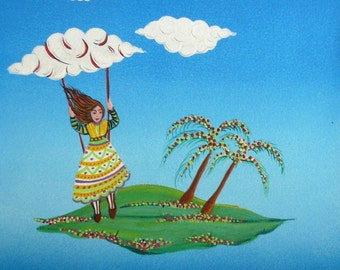 painting naif Island-little woman on swing Sea Sky clouds gift idea for children