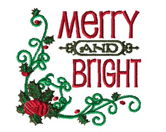 Embroidery File, Merry and Bright, Christmas Embroidery PES, 5x7, PES Format, Digital File, Embroidery Pattern, Machine Embroidery