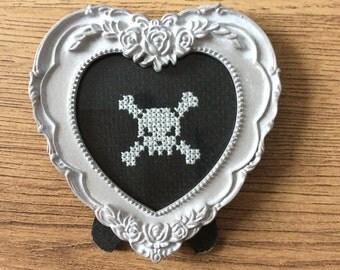 Skull and cross bones cross stitch