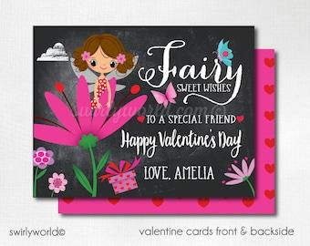 Garden Fairy Valentine's Day Cards, Pixie Fairy Valentines for Girls, Pink Chalkboard Valentine Cards, Classroom Valentines DI-VAL100