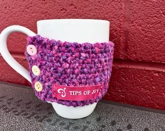 Cup Cozy; Coffee Cozy; Knit Coffee Cup Warmer; Cup Warmer; Pink Cozy