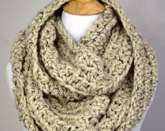 OFF-SEASON SALE Crochet Infinity Scarf, Super-Chunky Scarf, Soft Scarf, Warm Scarf, Oversized Scarf, Cozy Scarf  // in Oatmeal Tweed