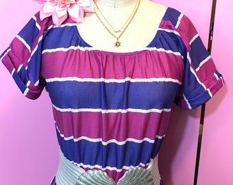 Vintage dress/FAB 208 NYC/re-designed vintage dress/recycled vintage dress/ striped dress/80's dress/scoop neck dress
