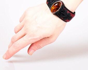leather bracelet , Amber , natural stone ,