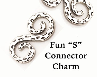 S Connector Charm, 4 pcs  **FREE U.S. SHIPPING**