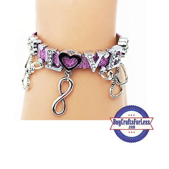 LOVE to  INFINITY Bracelet with 8mm Rhinestone letters +FREE Shipping & Discounts*