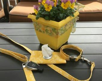 Collar Leash set, Floral Dog Collar, Yellow, Floral, Dog Leash, Girl Dog Collar, Collar Leash, Set, Key Fob, Wristlet, Poo Bag Holder,