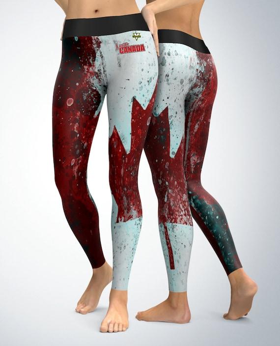 Flag of Canada Leggings Womens Leggings Capri Leggings