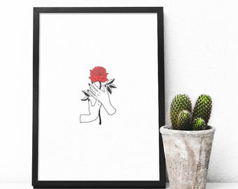 Hands Holding Rose Print, Tattoo Style Print, Instant Download, Printable Art