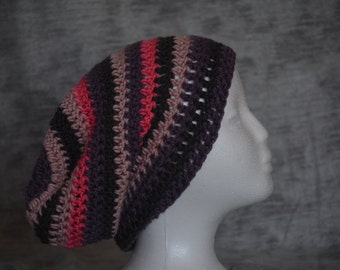 Striped crocheted slouchy beanie hat (pink, purple, charcoal)
