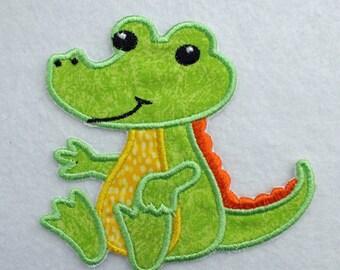 Alligator Patch, Alligator Applique, Embroidered Alligator, Iron on Patch, Applique Patch, Embroidered Alligator Patch, Baby Alligator Patch