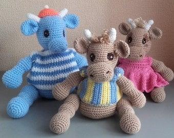 Handmade crochet cow toy Plush crochet cow Crochet toy Sailor cow Sport cow Crochet Cute animals Crochet doll animals Stuffed cow