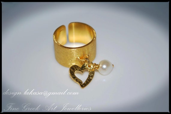 Chevalier Ring Heart with Pearl Sterling Silver Gold-Plated One Sized Ring Jewerly Lakasa e-shop