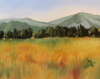 At the foot of the Albères-1, oil on canvas - original work - figurative painting