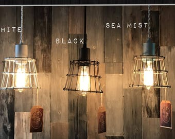 "Industrial Lighting: Vintage Wire Cage Pendant Light  w/ 3ft. Vintage Cord, 60Watt Teardrop Bulb & Choice of Wire Cage Color (6"" W x 7"" H )"