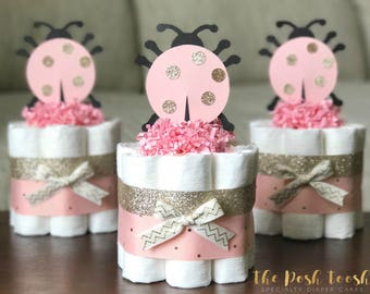 ladybug diaper cake baby shower centerpiece decoration gift one pink and champagne gold