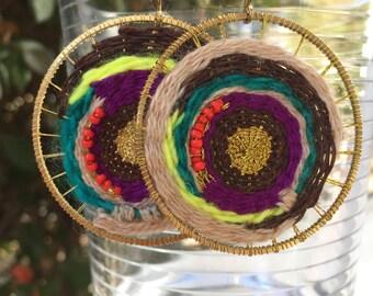 HOOLIGANISMA: asymmetrical hand-woven fiber statement earrings