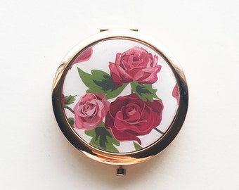 Rose Pattern Compact Mirror