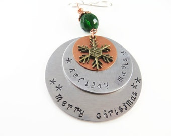 Hand stamped holiday magic christmas ornament