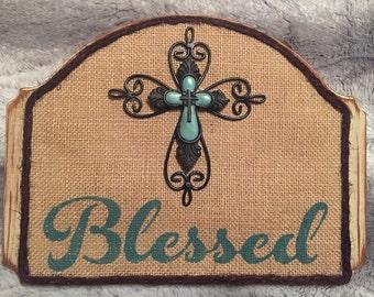 Blessed Wooden Burlap Sign, Wooden Sign, Burlap Sign, Burlap, Rustic Home Decor, Rustic Plaque