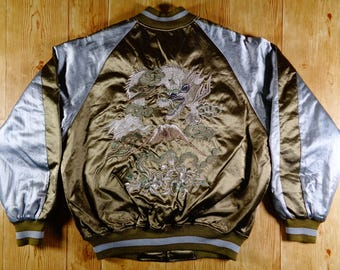 SALE 20% Vintage SUKAJAN Dragon On Volcano Embroidery Satin Souvenir Yakuza Jacket Rare