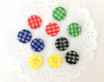 10x Vichy Plaid Buttons 12mm